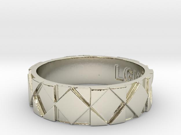 Futuristic Rhombus Ring Size 13 in 14k White Gold
