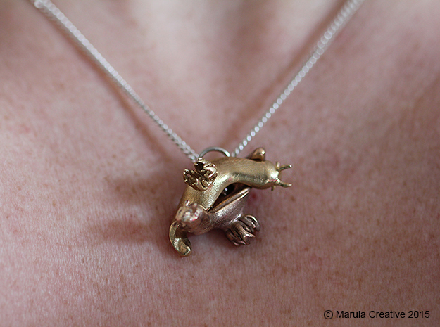 Yana the Nudibranch Pendant in Raw Bronze