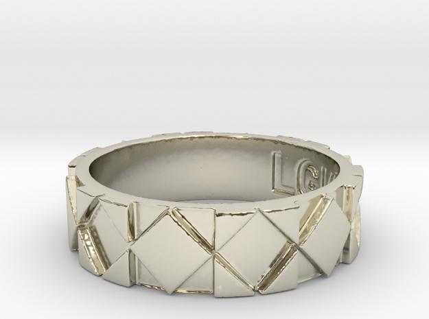 Futuristic Rhombus Ring Size 9 in 14k White Gold