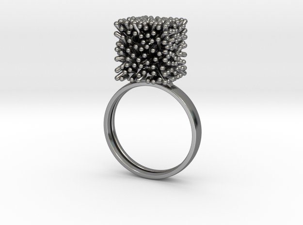 Constantina Architectural Coral Ring in Premium Silver