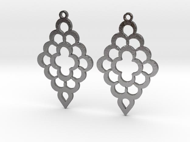 Diamond Shaped Shaped Earrings in Polished Nickel Steel