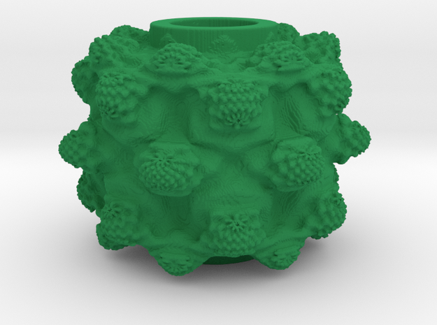 MandelBulb Power8 OM Particle in Green Processed Versatile Plastic