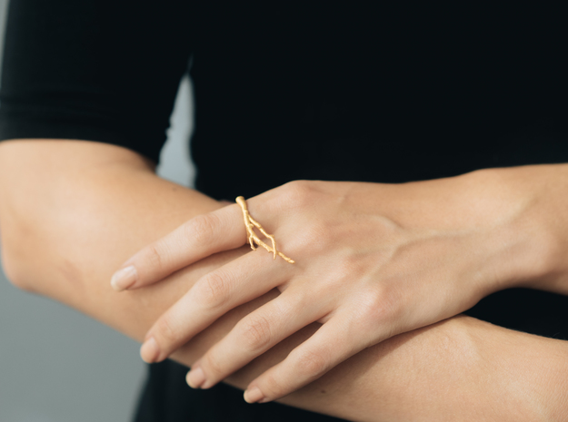 Branch Ring in Polished Gold Steel: 6 / 51.5