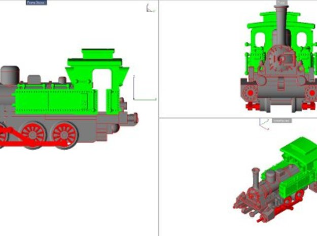 Steam Locomotive T3 Scale N Part 001 in Green Strong & Flexible Polished
