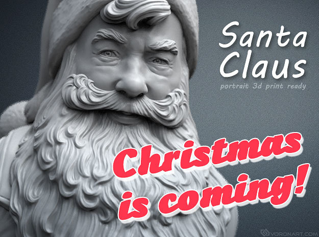 Santa Claus portrait. 15 cm tall in White Strong & Flexible Polished