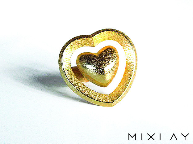 Saturno Hearts 02 17 in Polished Gold Steel