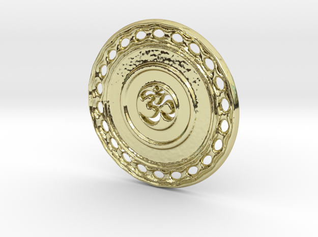 OM Particle Coin in 18k Gold Plated Brass