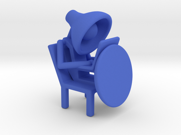 Lala - Working in computer - DeskToys in Blue Strong & Flexible Polished
