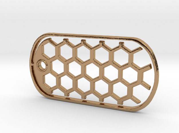 Honeycomb Dog Tag in Polished Brass