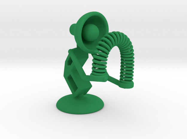 "Lala - Playing with ""Spring coil toy"" - DeskToys in Green Processed Versatile Plastic"