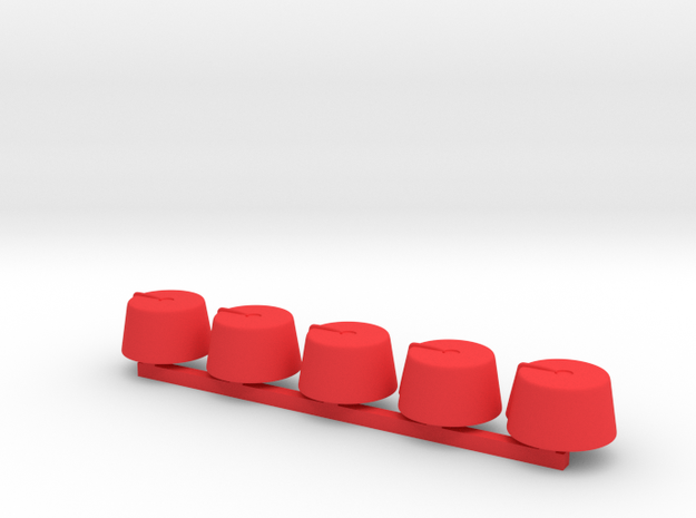 5 x Fez small in Red Processed Versatile Plastic