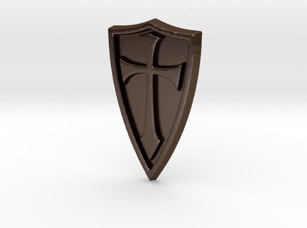 Cross Shield Pendant in Polished Bronze Steel