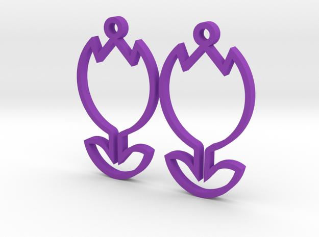 Tulip Earrings in Purple Processed Versatile Plastic