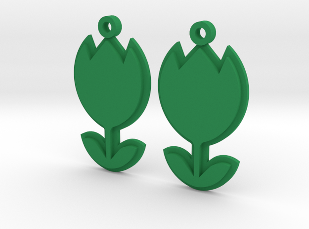 Tulip Earrings Thick in Green Processed Versatile Plastic