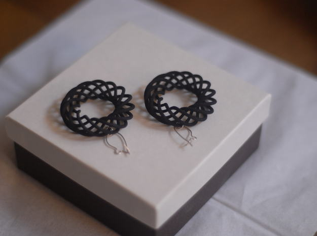 Spiral Torus Earrings 3d printed