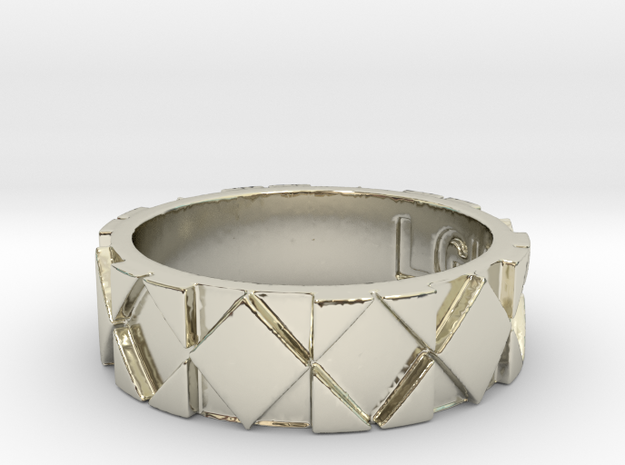Futuristic Rhombus Ring Size 7 in 14k White Gold