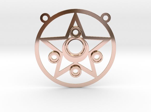 Sailor Moon Compact Pendant in 14k Rose Gold Plated Brass