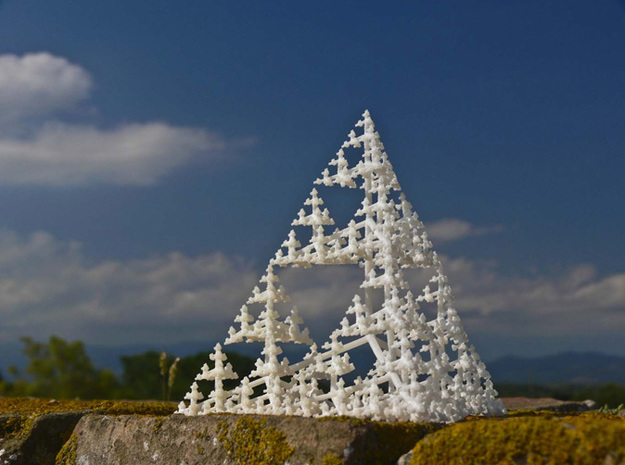 Sierpinski Tetrahedron Tree (thin branches) in White Natural Versatile Plastic