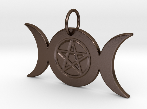 Triple Moon Pentacle Pendant - pie slice bail in Polished Bronze Steel