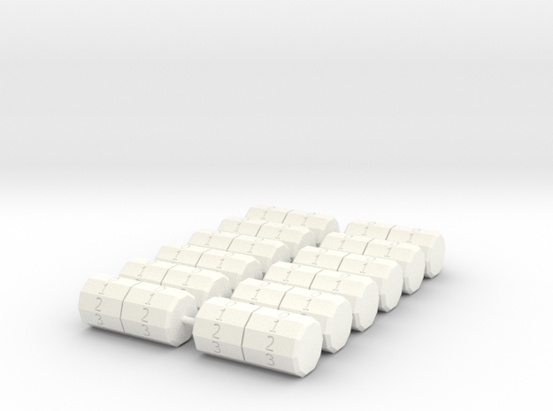Tumbler V02 set of 12 in White Strong & Flexible Polished