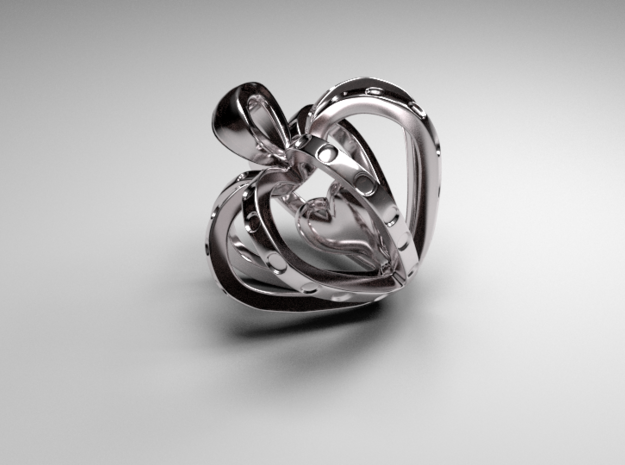 Heart in the Heart pendant in Fine Detail Polished Silver