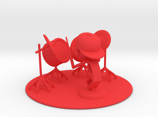 """Lala """"Trying Drums"""" - DeskToys in Red Strong & Flexible Polished"""