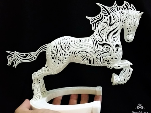 Rocinante Horse Sculpture in White Natural Versatile Plastic