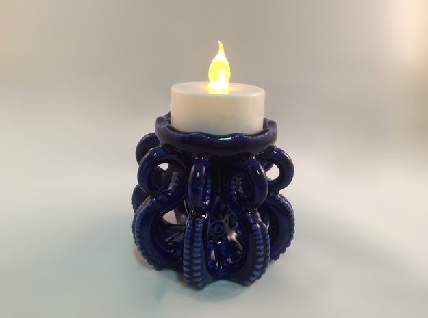 Ceramic Octopus Candle Holder in Gloss Cobalt Blue Porcelain