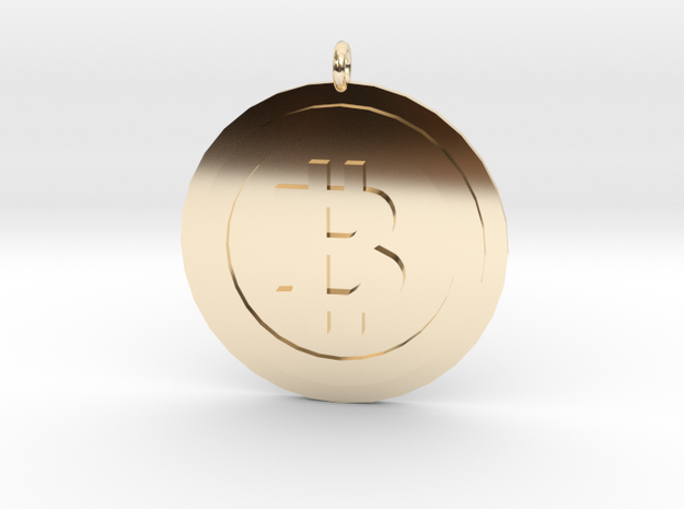 """Bitcoin """"We Use Coins"""" Style in 14K Yellow Gold"""