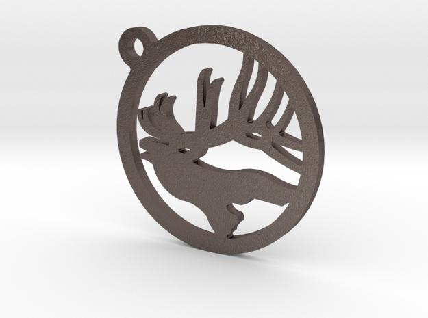Elk Keychain 1 in Polished Bronzed Silver Steel