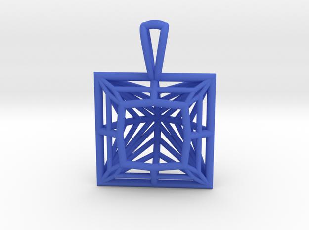 3D Printed Diamond Princess Cut Pendant by bondswe in Blue Processed Versatile Plastic