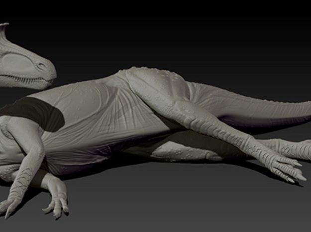 1/40 Cryolophosaurus - Laying on Side in White Natural Versatile Plastic