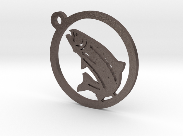 Fish Keychain 1 in Polished Bronzed Silver Steel
