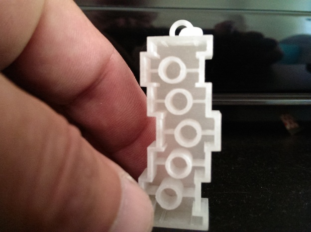 Unpossible Lego-shaped  pendant 3d printed