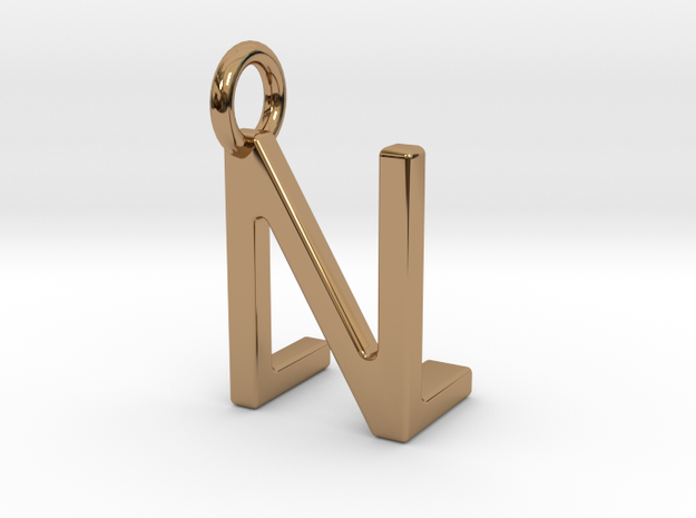 Two way letter pendant - LN NL in Polished Brass