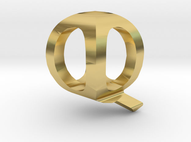 Two way letter pendant - QQ Q in Polished Brass