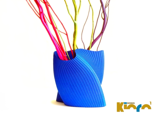 "wave vase ""Touch"" in Blue Processed Versatile Plastic"