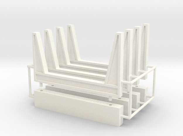 1/64th Staging log bunks in White Processed Versatile Plastic