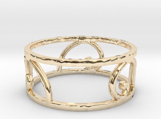 Golden Spiral Ring Size 7 (3 normal spirals) in 14K Yellow Gold