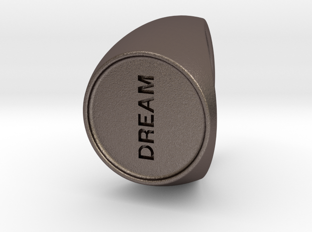 Custom Signet Ring 13 in Polished Bronzed Silver Steel