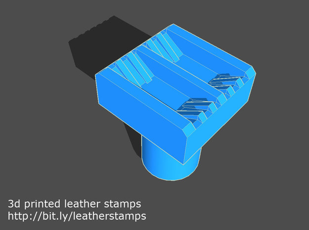 Leather stamp 2 + tool, with double lines weaving  in Green Strong & Flexible Polished
