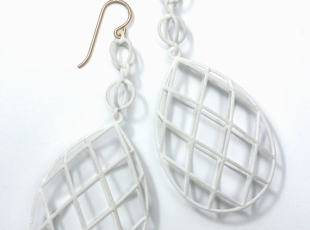 Faceted Briolette Earrings 3d printed