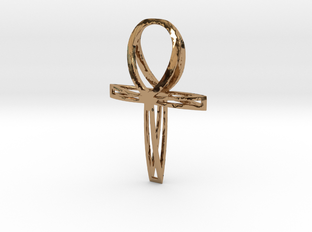 Large Double Ankh Pendant in Polished Brass