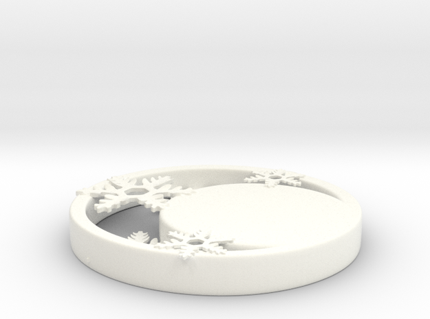 Customizable Crescent Snowflake Ornament in White Processed Versatile Plastic