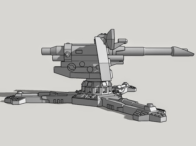 28mm Sci-Fi Antitank Gun (with 6 Barrels!) in White Strong & Flexible