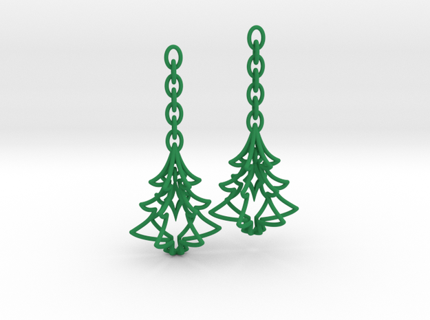 Christmas Tree Star Earrings in Green Processed Versatile Plastic