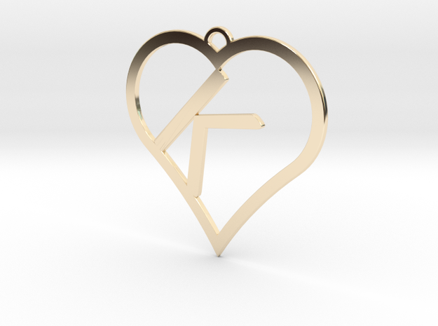 K-Heart Necklace in 14K Yellow Gold