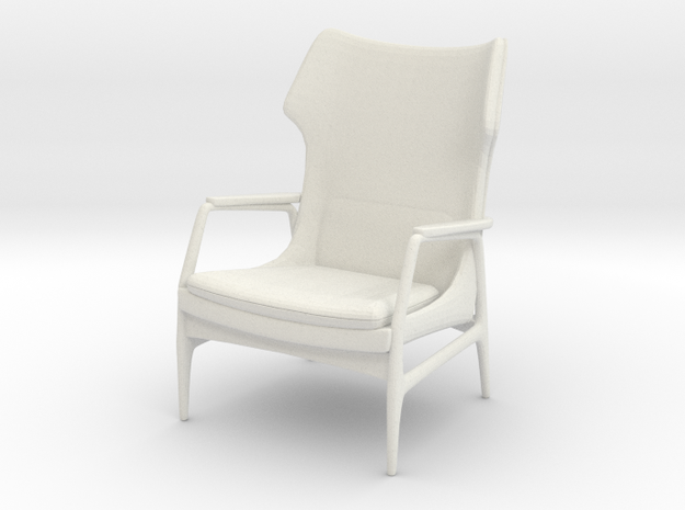 1:24 Mid-Century Lounge Chair in White Strong & Flexible
