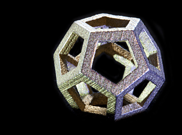 Dodecahedra, 1 Inch, 5 sided sections - smpl matrl in Polished Bronzed Silver Steel