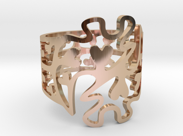 Gye Nyame Hearts Ring in 14k Rose Gold Plated Brass